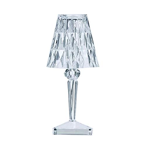 Lámpara De Mesa De Cristal Europea Acrílico, Lámpara De Mampostería, Lámpara Decorativa Junto A La Cabecera, Recargable,12x26CM