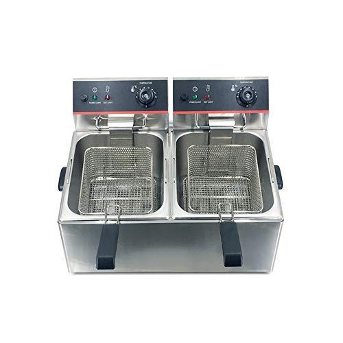 LBSX Acero Inoxidable Profundo Grasa freidora eléctrica Comercial Catering Robot de Cocina con la Cesta y Control de Temperatura (12L Tanque)