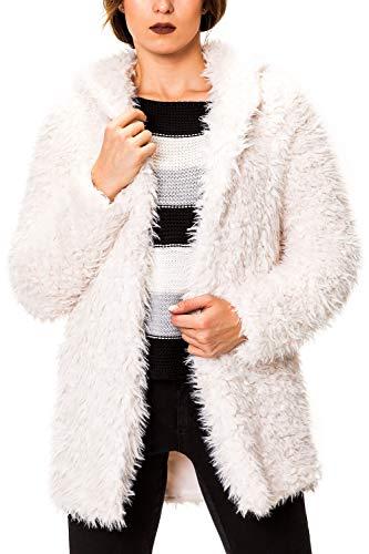 Hailys Damen Kunstpelz Jacke mit Kapuze Kurzmantel Plüsch Cardigan (M, Offwhite)