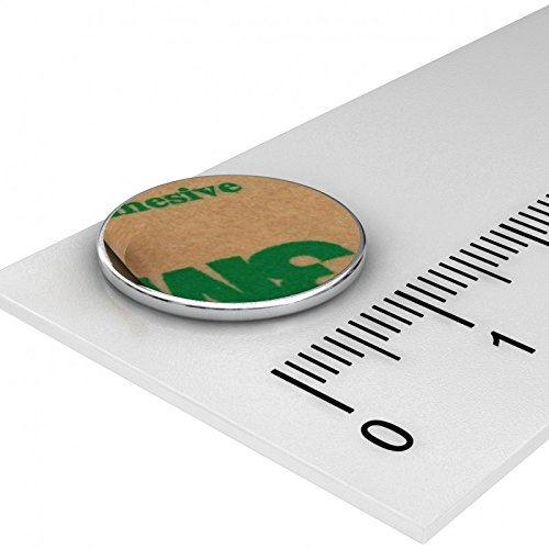 10 x Neodym Scheiben Magnet, 15 x 1 mm, vernickelt, selbstklebend durch Klebefolie, Grade N35, Supermagnete