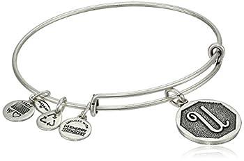 Alex and Ani Rafaelian Silver-Tone Initial  U  Expandable Wire Bangle Bracelet 2.5