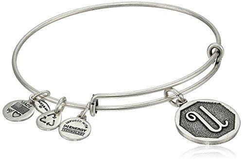 Alex and Ani Rafaelian Silver-Tone Initial 'U' Expandable Wire Bangle Bracelet, 2.5'