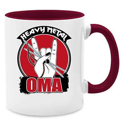 Tasse für Oma - Heavy Metal Oma - Stricknadeln - schwarz - Unisize - Bordeauxrot - Geschenk - Q9061 - Kaffeetasse und Teetasse