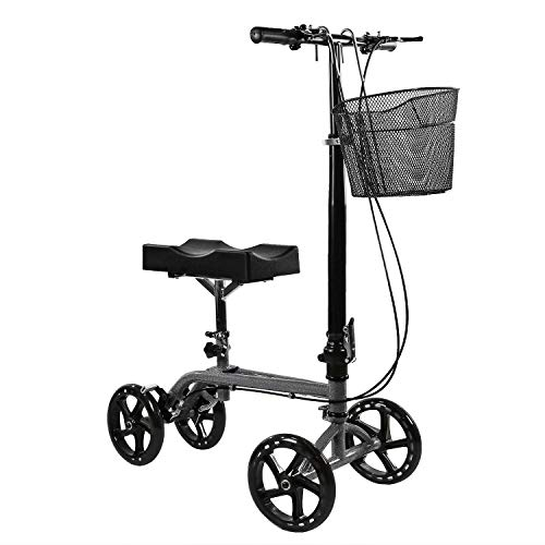 Clevr Medical Foldable Adjustable Steerable Knee Walker Scooter with Dual Brake System & Basket for Foot Injuries or Surgery, Alternative to Crutches, Silver