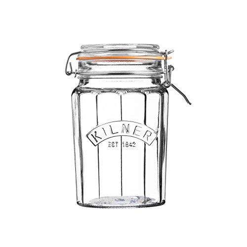 Kilner Facetten-Glas mit Bügelverschluss, 950 ml Einkochglas, transparent