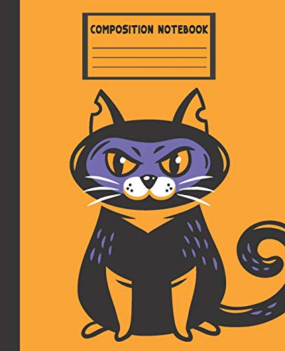 Composition Notebook: Kawaii Cat Orange Halloween - College Ruled Blank Lined School Subject, Diary, exercise book for teachers, kids, teenager, ... (Composition Workbook Journal, Band 3)