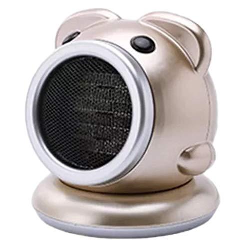 Huante - Calefactor eléctrico portátil con ventilador pequeño, con termostato regulable, calentador integrado giratorio, color dorado