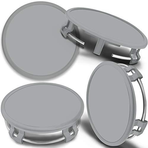 SkinoEu 4 x 75mm Tapas de Rueda de Centro Centrales Llantas Aluminio Tapacubos Compatibles con Mercedes Benz B66470207 / B66470200 Plata Gris CMS 0