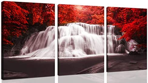 Waterfall Wall Art Painting Black White Red Landscape Canvas Wall Art 3 Pieces Red Trees Forest product image