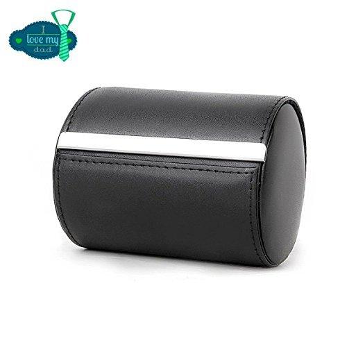 Iristide Neck Tie Box Formal Cylinder Men's Classy Necktie Travel Storage Case (Black)