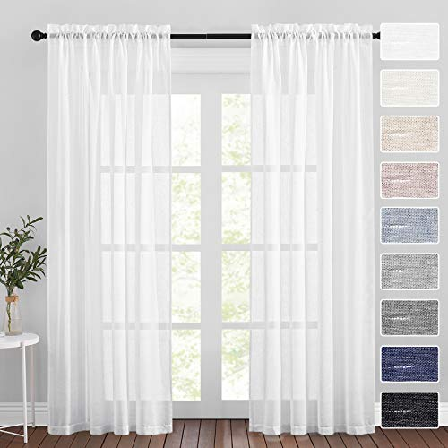 RYB HOME White Sheer Curtains - Natural Linen Flax Semi Sheer Curtains Light Glare Filtering Privacy Drapes for Canopy Bed Living Room Picture Window Decor, 52 inch Wide x 84 inch Long, 2 Pcs