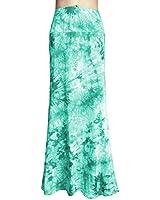 YiLiQi WomensTieDyeFoldOverMaxiSkirt-HighWaistLongSkirt White-Green-XL