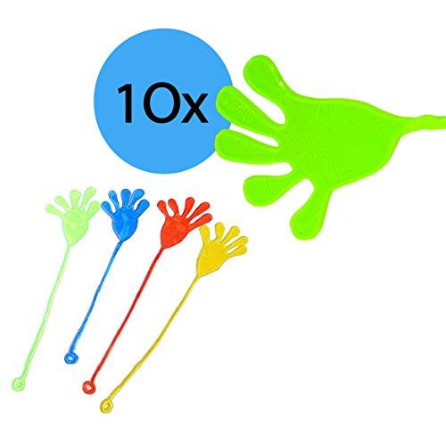L+H 10x Klatschhand Glibber in den Farben Grün/Gelb/Rot/Blau | hochwertige Klatschhände | Mitgebsel Mitbringsel Give aways Scherzartikel Spielspaß | ideal geeignet für den Kindergeburtstag für Kinder