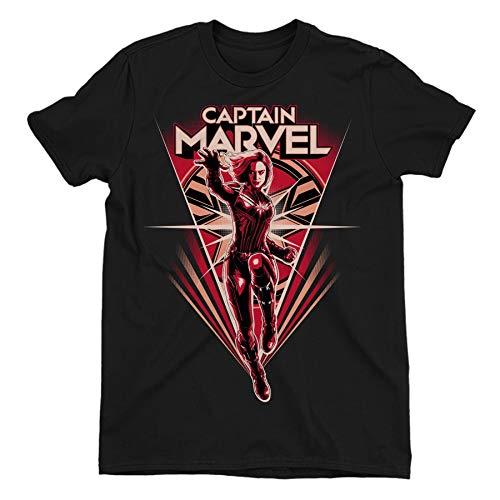 Captain Marvel Flying V Children's Unisex Black T-Shirt 7-8 Years