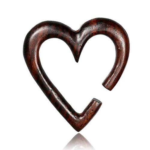 CHICNET Piercing de madera de Narrawood expansor marrón oscuro, grande pendientes dilatadores, tribal, hecho a mano, hombre y mujer, dilatador túnel corazón caracoles 10mm