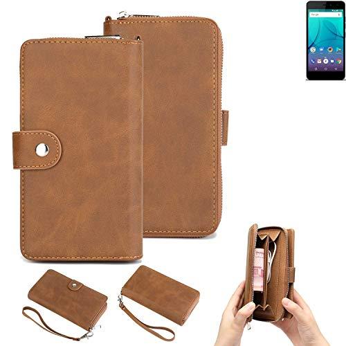 K-S-Trade Handy-Schutz-Hülle Für Allview P7 Lite Portemonnee Tasche Wallet-Hülle Bookstyle-Etui Braun (1x)