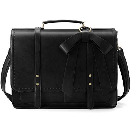 "ECOSUSI Women Briefcase PU Leather Laptop Bag College Satchel fit 15.6"" Laptop"