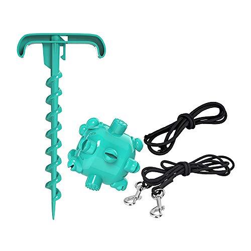 TTAototech - Cable de atadura para perro (2 m, resistente, con correa de entrenamiento, estaca en espiral, estaca de suelo, juguete para masticar para acampar al aire libre, patio trasero