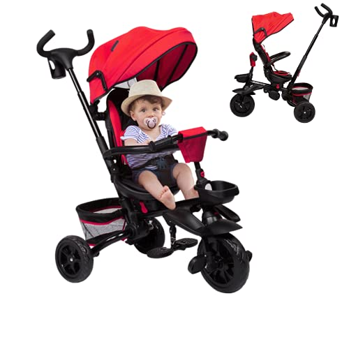 Kinbor Baby Tricycle Stroller, 6-in-1 Tricycle Stroller Bike for Toddlers Foldable with Adjustable Push Handle, Removable Canopy, Safety Harness for 6 Months - 5 Year Old (Red)