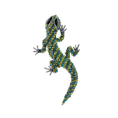 Broches de lagarto grande de diamantes de imitación para mujer Gecko Pin de camaleón de cuatro patas Broche de animal vivo Joyería de moda-Verde