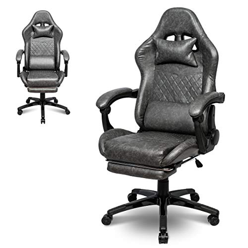 Gaming Chair Office Chair PC Chair with Lumbar Support, Racing Style PU Leather High Back Adjustable Swivel Task Chair with Footrest Rolling Swivel Racing Chair (Gray)