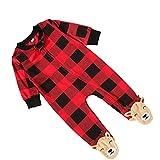 TOYANDONA Mameluco de Navidad con Estampado de Reno Rojo a Cuadros Pijamas de Una Pieza Traje de Navidad Ropa de Rastreo de Dibujos Animados para Niños Pequeños de 60CM