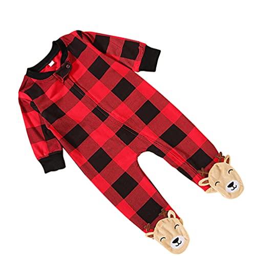 TOYANDONA Mameluco de Navidad con Estampado de Reno Rojo a Cuadros Pijamas de Una Pieza Traje de...
