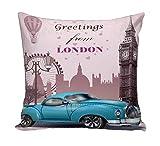BAS Decorative, Fashion, Colorful 3D Digital Printing Square Cushion Covers for Sofá, Chair, Chair, Chair, Cocina, Home Decor 43 x 43 cm (London Car)