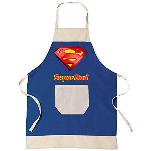 SHIRT-TO-GO BBQ Grillschürze & Küchenschürze in blau Super Dad als Geschenkidee