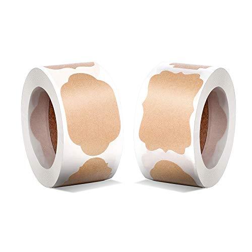 600Pcs Geschenk-Etiketten aus natürlichem Kraftpapier, Runde Selbstklebend Vintag Geschenkaufkleber, Braun Kraft Weihnachten Geschenk Anhänger Aufkleber 1,2 x 2 Zoll