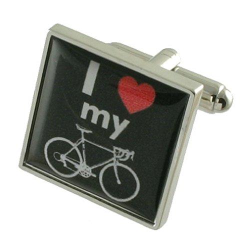 I Love My Bike Sign Boutons de manchette pour homme en argent sterling 925 massif Boutons de manchette + Message Message gravé personnalisé Boîte