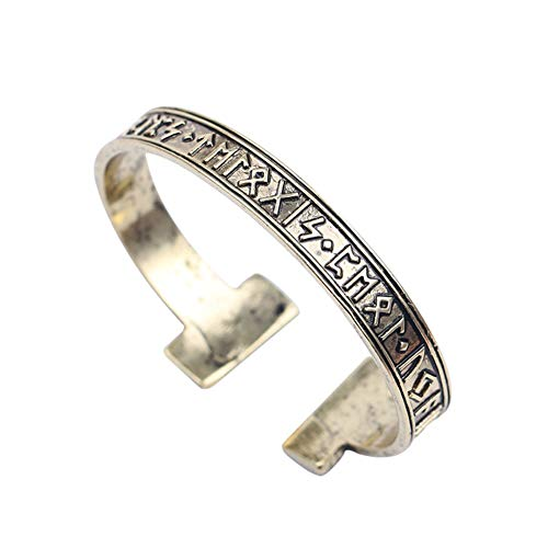 YOROOW Viking Rune Brazalete Vintage Golden Opening Odin Mythical Amulet Aleación Pulsera para hombres
