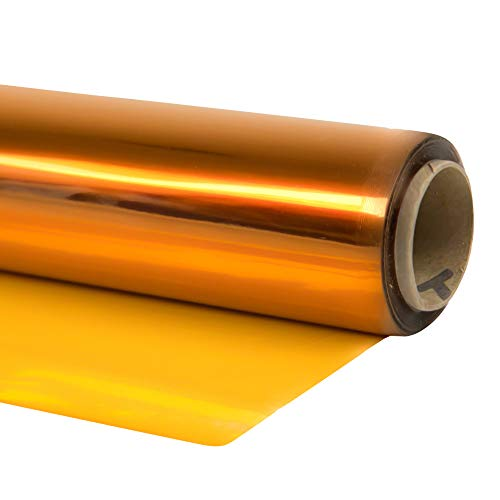 Cellophane Wrap (Yellow, 24' x 100') Yellow Mylar Sheet Cellophane Roll Great Wrapping Paper for Craft Basket