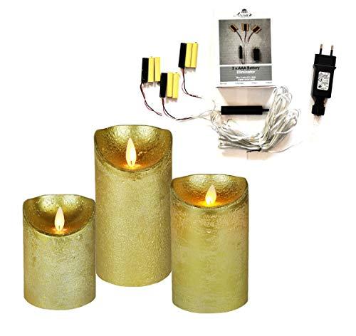 JACK 3er Set Kerze LED Echtwachskerze mit Batterie Adapter 10 cm + 12,5 cm + 15 cm Ø 7,5 cm viele Farben + Timer, Farbe:Gold