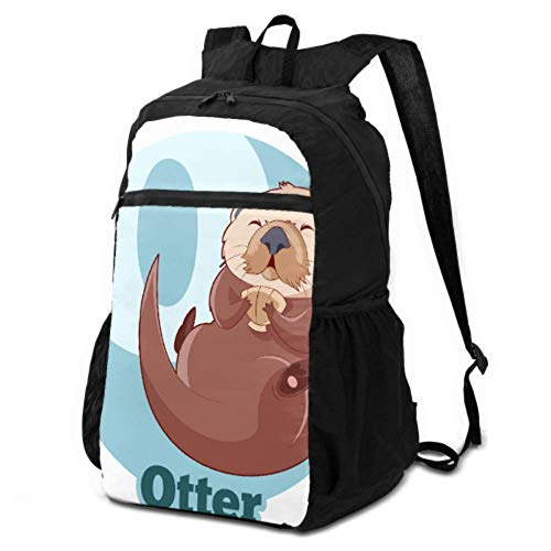 JOCHUAN Foldable Backpack for Boys A Cute Sea Otter Floating on Water Foldable Backpack for Travel Women Hiking Daypack Lightweight Waterproof for Men & Womentravel Camping Outdoor