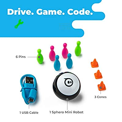 Sphero Mini (Black) App-Enabled Programmable Robot Ball - STEM Educational Toy for Kids Ages 8 & Up - Drive, Game & Code with Sphero Play & Edu App