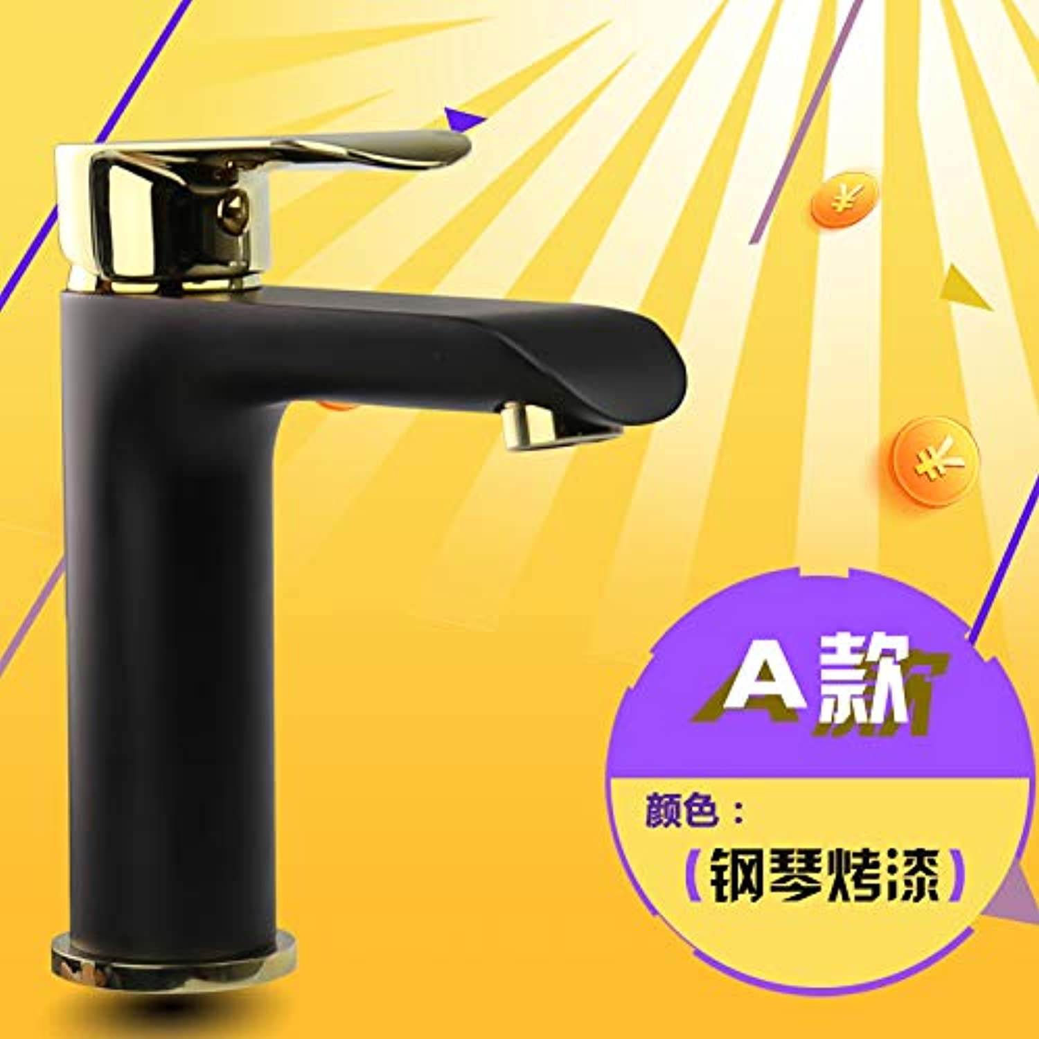 Hlluya Professional Sink Mixer Tap Kitchen Faucet Black antique faucet full copper hot and cold check basin wash basins wash basins single hole, Piano Black Grill Qin
