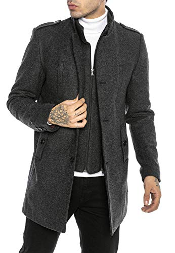 Redbridge Cappotto da Uomo elegante Giacca lunga invernale Slim Fit Transformable Grigio M