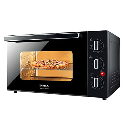 Inalsa Oven Chefs Club 30BKRC OTG (30L) -1500W with Rotisserie & Convention| Double Glass Door| Temperature & Timer Selection, 5 Cooking Modes, (Black)