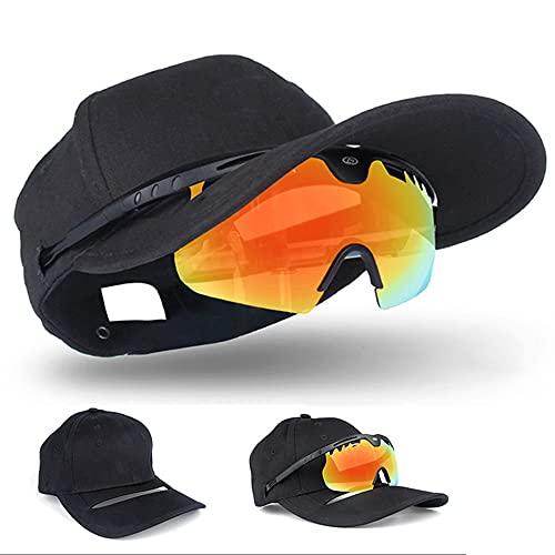 2 En 1 Gorra De Béisbol Para Gafas De Sol, Gafas De Sol Polarizadas Al Aire Libre UV400 90% De Transmisión De Luz Circunferencia De La Cabeza Ajustable Para Viajes Deportivos, Ciclismo, Pesca,Negro