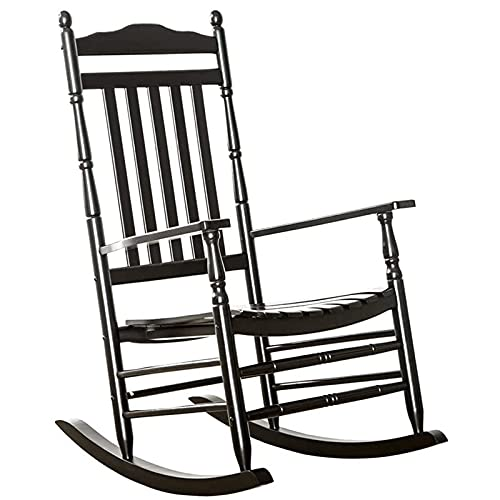 WGFGXQ Black Porch Rocker, Extra Large Outdoor Patio Rocking Chair for Adults, Heavy Duty Wood Frame, Loads 175kg/330lbs