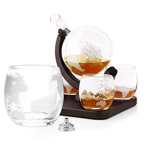 Murrano Whisky Karaffe - Globus mit Schiff, 850 ml - 4er Whiskygläser Set - Whisky Dekanter - (Ungraviert, Mit 4 Gläsern)
