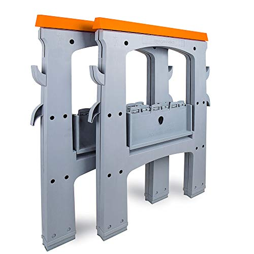 Amazon Basics Folding Sawhorse - Set of 2, 900 Pound Capacity