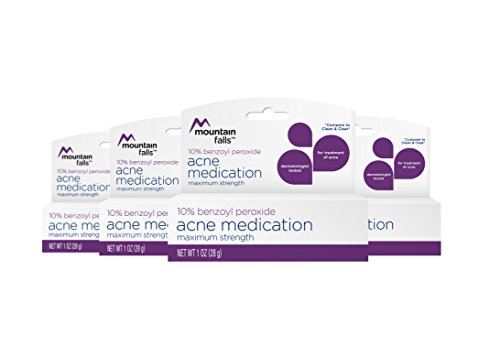 Mountain Falls 10% Benzoyl Peroxide Acne Medication, Maximum Strength, Compare to Clean & Clear, 1 Fluid Ounce (Pack of 4)