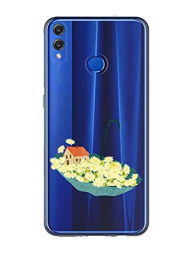 Oihxse Case Transparente Suave TPU Compatible con Huawei Nova 5T/Honor 20 Funda [Lindo Caricatura Flor Serie Dibujos] Cristal Protector Carcasa Anti Rasguños Bumper Cover-Paraguas