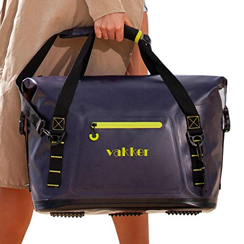 VAKKER 36 Can Insulated Cooler Bag, 3 Days Ice Life, Waterproof, Leakproof, Dustproof Portable Soft Side Cooler Bag, Lunch Box for Outdoor, Camping, Hiking, Beach, Travel, Picnic (Navy Blue)