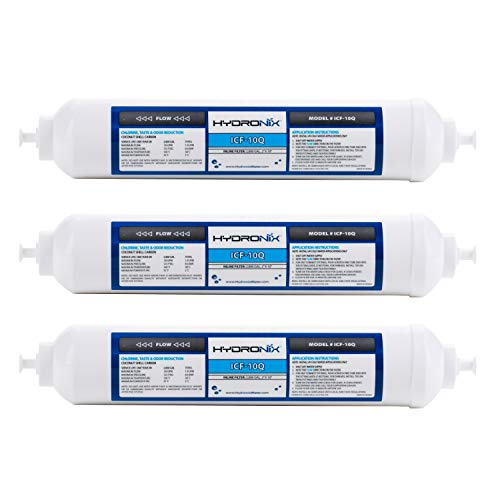 Hydronix 3 Pack ICF-10Q Inline Reverse Osmosis Post, Fridge & Ice Coconut GAC Water Filter 2000 Gal, 1/4' QC Ports