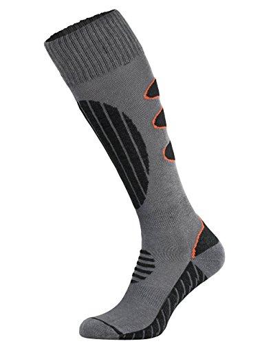 Tobeni 2 Paires Chaussettes Coolmax Snowboard Fonction Chaussettes Hautes pour les Femme et les Homme Coleur Noir-Orange Taille 39-42