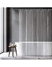 億騰 シャワーカーテン 透明 178*180cm 風呂カーテン 目隠し 防水 防カビ 浴室カーテン 遮光 バスカーテン ユニットバス フック付属 下には磁石があり 間仕切り 浴室 プライバシー バスルーム クリア
