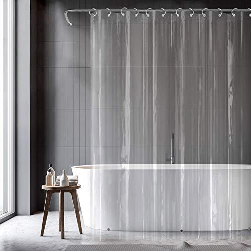 億騰シャワーカーテン透明カーテン180x180cm防水防カビ防音風呂カーテン目隠し浴室カーテンバスカーテン遮熱ユニットバスフック付属下には磁石があり間仕切り浴室窓プライバシーバスルームクリア